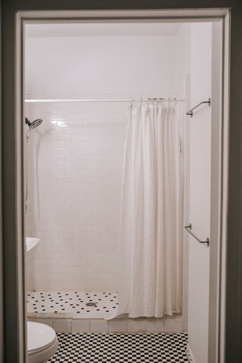 athroom interior with shower cabin in house